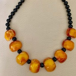 Butterscotch Amber and Onyx Bead Necklace